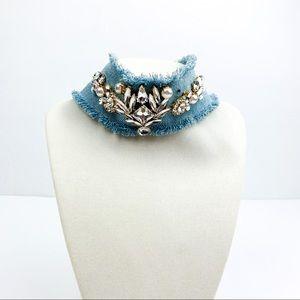 Cara rhinestone embellished Denim Choker necklace